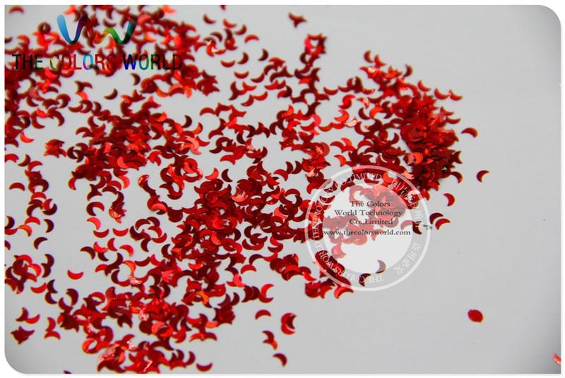LM-3 Größe 3mm laser holographic Red farbe Glitter paillette Mond form spangles für Nail art und DIY supplies1pack = 50g