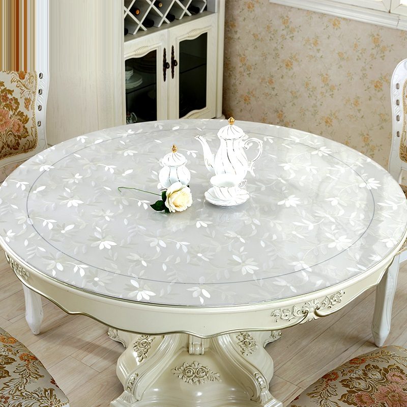 home kitchen crystal oil proof transparent soft glass waterproof Dining floral round PVC table cloth cover
