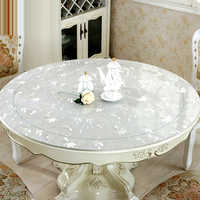 home kitchen crystal oil proof transparent soft glass waterproof Dining floral round PVC table cloth cover mat placemat