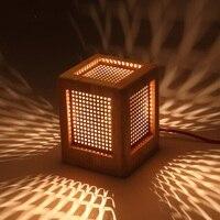 אישיות יצירתית מנורת שולחן מנורות שולחן שליד המיטה חדר שינה מעץ פשוט תהליך גילוף עץ מלא נורות LED