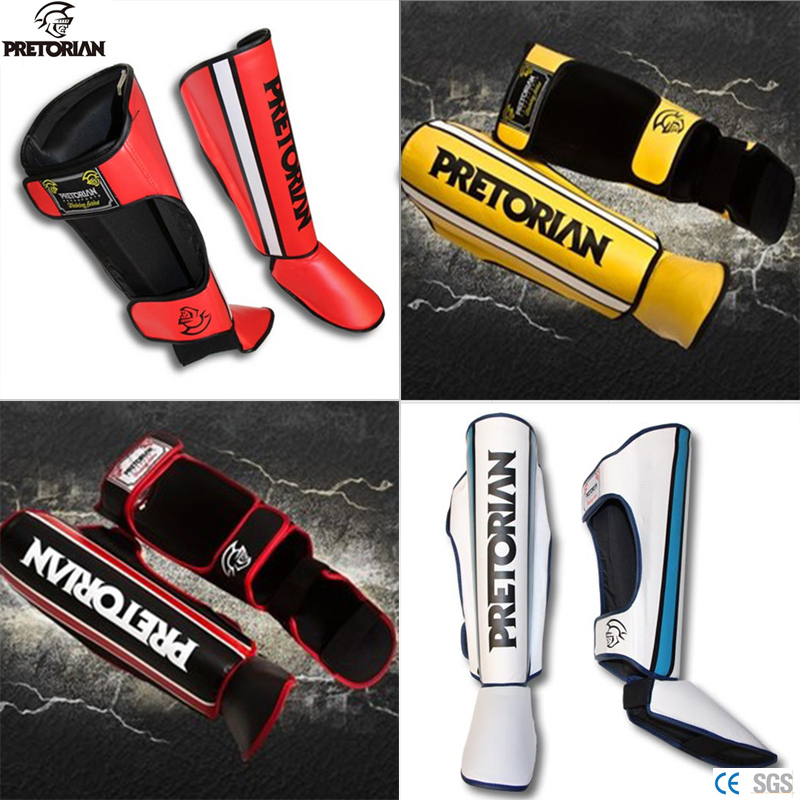 Pretorian MMA shin instep guard Thicken padded adult Muay thai Luva Boxe training Leg Protector Boxing Instep shank foot guards  цены