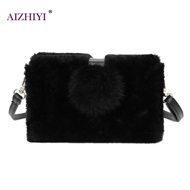 c67e80830918 Faux Fur Women Crossbody Bags Handbags Fashion Top-Handle Shoulder Bags For Women  Fur Purse Solid Fresh Ladies Messenger Bags