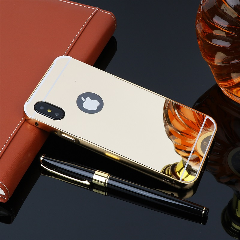 Metal Case For iPhone 7 8 Plus Hard Plastic Aluminum Mirror Case For iPhone 8 6 Plus 6s X Glossy PC Phone Cover Luxury Case