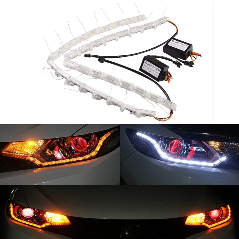 1Set White Amber Tear Turn Lamp Switchback Streamer Flash Daytime Running Driving Bulb Waterproof Flexible DRL Decorative Light