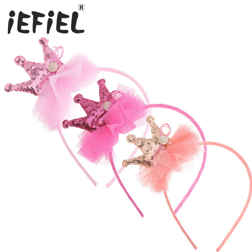 iEFiEL Children Baby Tulle Crown Hairbands Tiaras Hoop For Hair Clasp Girls Hair Band Headbands Christmas Party Hair Accessoies