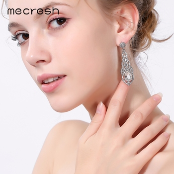 Mecresh Crystal Wedding Drop Earrings for Women Silver Black Gold Color Korean Bridal Dangle Jewelry 1