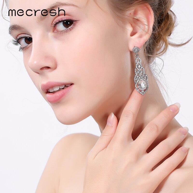 Mecresh Kristal Pernikahan Earrings untuk Wanita Lucu Warna Silver - Perhiasan fashion - Foto 2