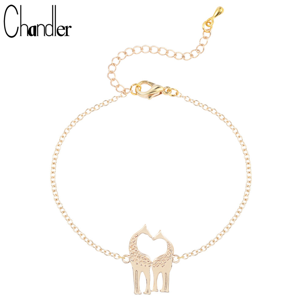 Chandler Hot Loving Giraffe Bracelet Animal Gold Color Link Chain Lovers Couples Best Gifts Fashion Jewelry Party Accessary