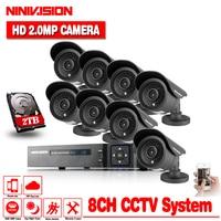 Лидер продаж AHD CCTV DVR Системы 8CH 2.0MP открытый Водонепроницаемый Камера s CCTV Системы комплект 8 каналов видео Камеры Скрытого видеонаблюдения