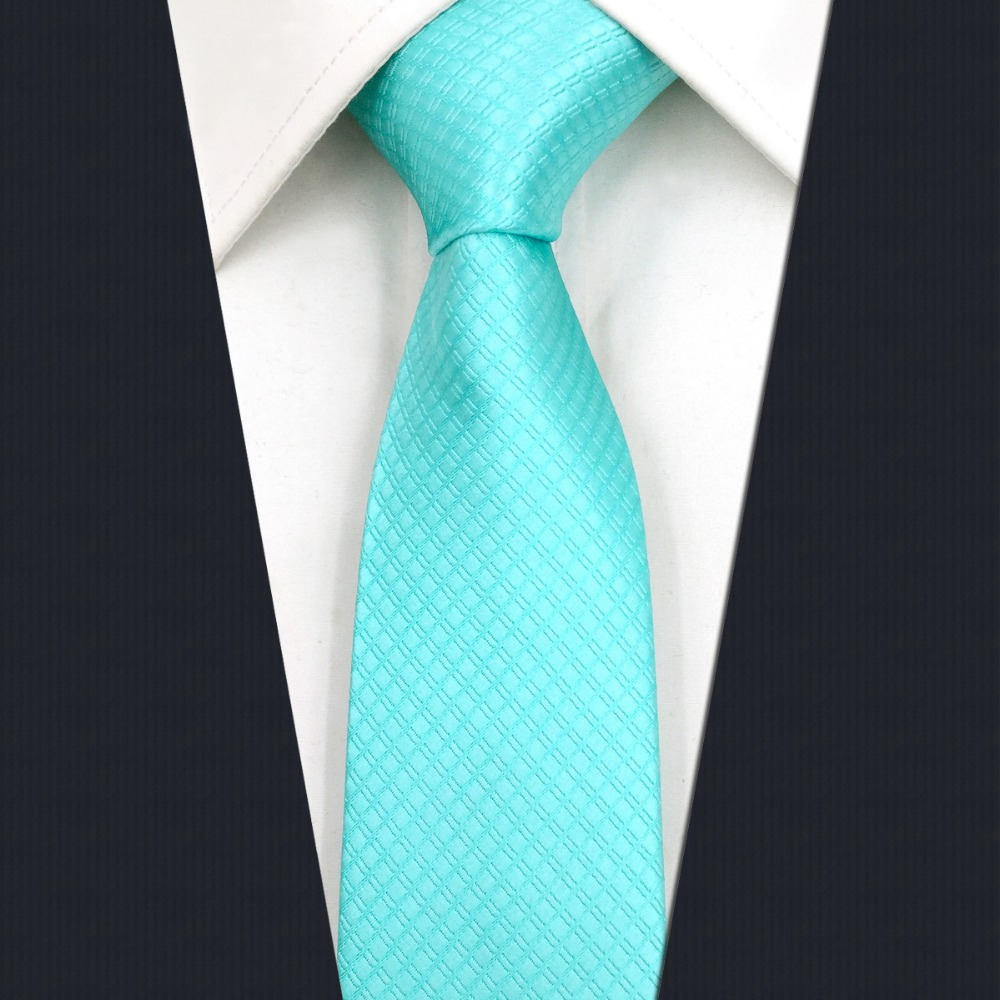 C34 Solid Aqua Mens Slim Silk Tie Skinny Ties For Men Wedding 6cm