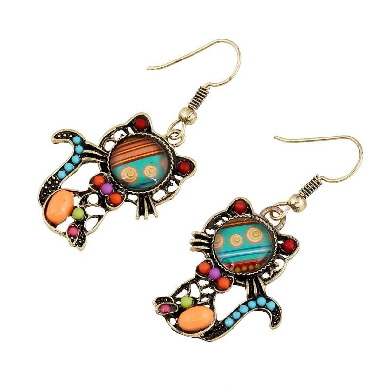 New Design Cat Earrings Long Dangle Ethnic Earrings Acrylic Beads ...