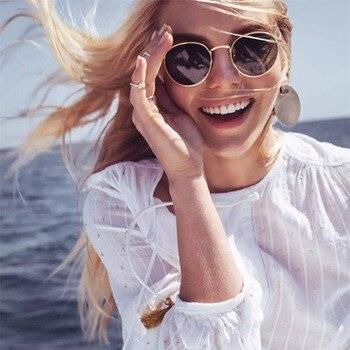 LeonLion 2019 كلاسيكي صغير إطار جولة نظارات المرأة / الرجال العلامة التجارية مصمم سبيكة مرآة النظارات خمر مودوس oculos 1