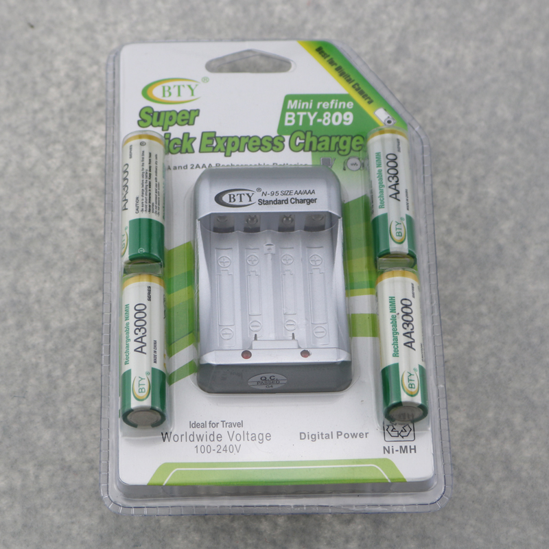 3 Sets/LOT 4 x Rechargeable AA Battery Size 5 1.2V 3000mAh AA NI-MH Batteries + EU/US Plug Charge For AA <font><b>AAA</b></font> Battery image