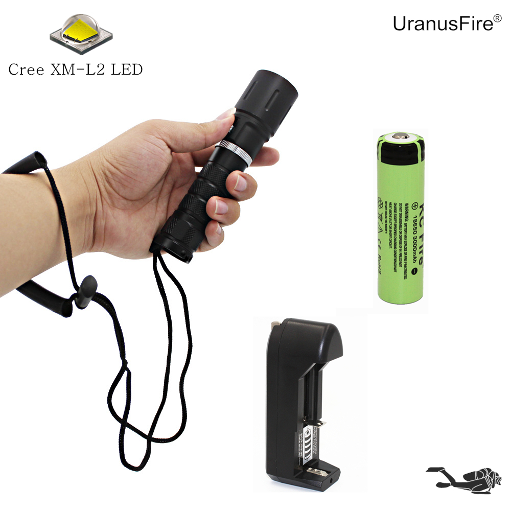 Portable Diving Flashlight L2 LED Flashlight Cree XM-L2 Scuba Torch Underwater Waterproof Dive Light + 18650 Battery + Charger 100m underwater diving flashlight led scuba flashlights light torch diver cree xm l2 use 18650 or 26650 rechargeable batteries