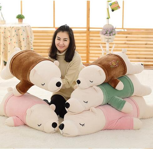90cm The polar bear pillow plush toy doll gift to send girls to bear children sleep pillow polar marine animal model toy penguin reindeer polar bear blue whale walrus sea l toy model sets pvc figure