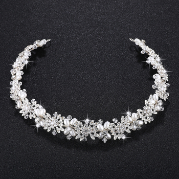 Miallo Luxury Clear Crystal Bridal Hair Vine Pearls Wedding Hair Jewelry Accessories Headpiece Women Crowns Pageant HS-J4506 1