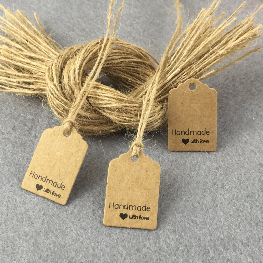 500PCS Handmade With YOU Tags +500PCS Strings Kraft
