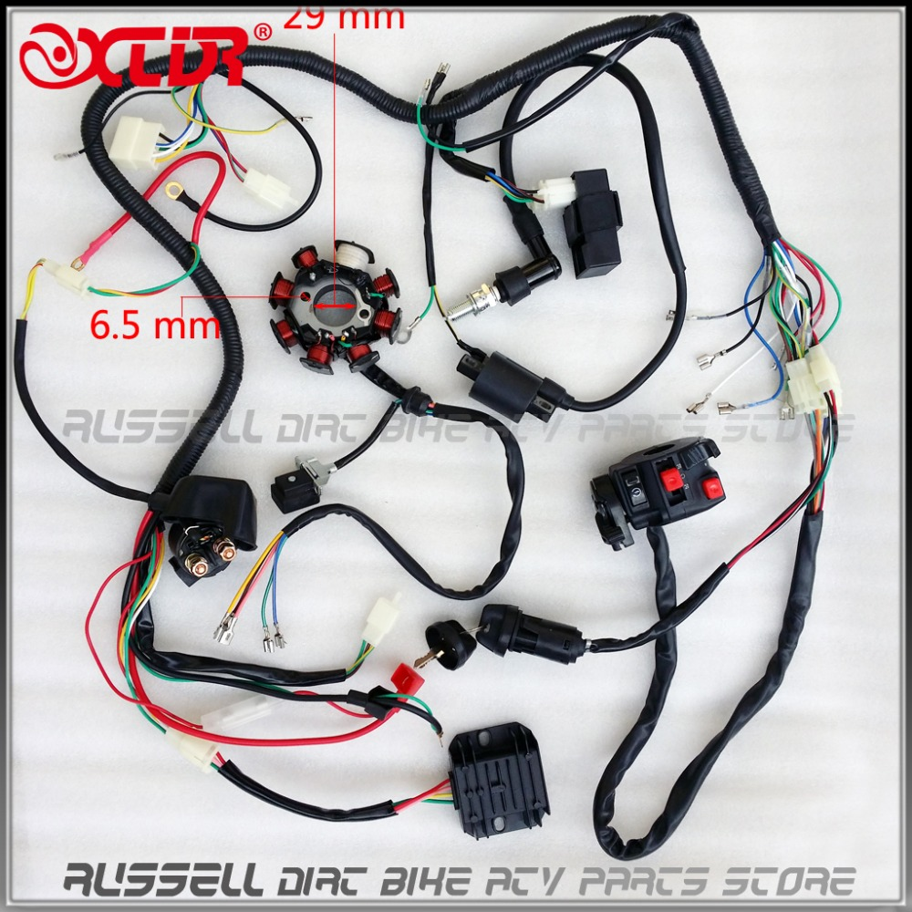 medium resolution of full electrics atv wire loom key solenoid magneto ignition coil regulator cdi 200cc 250cc atv quad