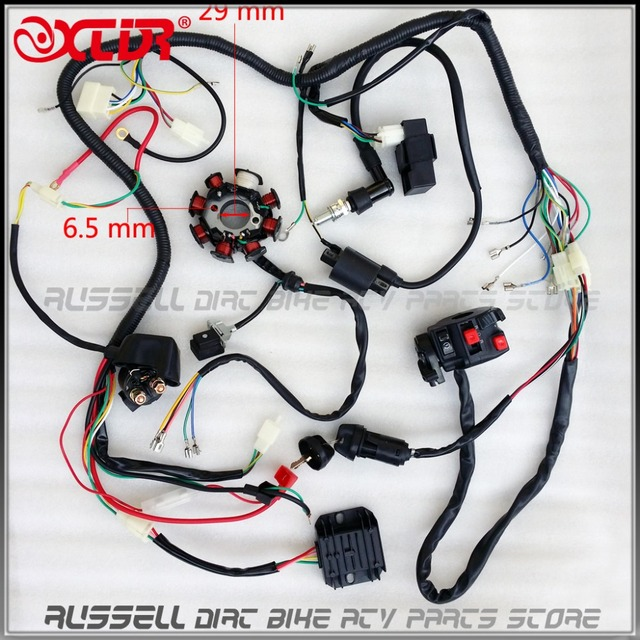 Wire Loom Key Solenoid Magneto Coil Regulator CDI 150cc 200 250cc ATV Quad Bike