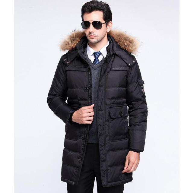 adbd12054d Men s 100% White Duck Down Jackets Thickening Men Business Casual Winter  Coats Detachable Cap Long