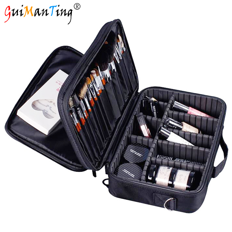 Women Large Capacity Professional Makeup Bag Organizer Cosmetic Bags Case High Quality Oxford Female Zipper Makeup Box 3 Layers bubm cd holders receiving bags cover case cd trainborn organizer bag large capacity 80pcs dj package adapter big capacity