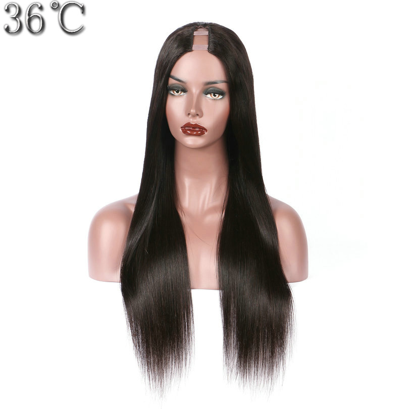PAFF натуральные волосы U часть парики шелковистая прямая 100% перуанский Волосы remy парик средней части с естественной Цвет 130% 150% 180% Плотность