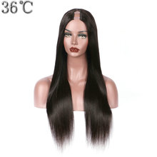 36C Human Hair U Part Wigs For Black Women Silky Straight 100% Peruvian Non-remy Hair Wig Middle Part Can Be Dyed No Tangle  цена 2017
