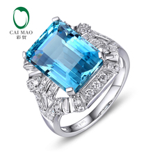 Caimao 14Kt/585 White Gold 7.95ct Natural Topaz 0.55ct Diamond Engagement Ring Jewelry Gemstone