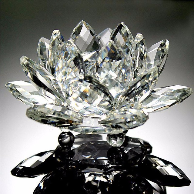 90mm Clear Quartz Crystal Glass Lotus Flower Natural Stones And