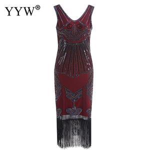 Image 5 - Vintage 1920s Flapper sukienka w stylu wielki Gatsby 2020 lato V Neck V z długim tyłem bez rękawów cekiny warstwa pomponem kostiumy fantazyjne sukienek