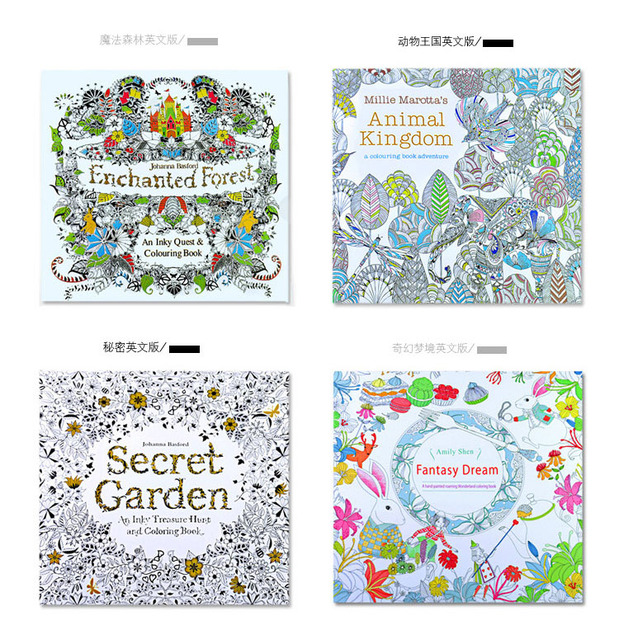 4PCS LOT 24 Pages English Edition Secret Garden Fantasy Dream Enchanted Forest Animal Kingdom Coloring