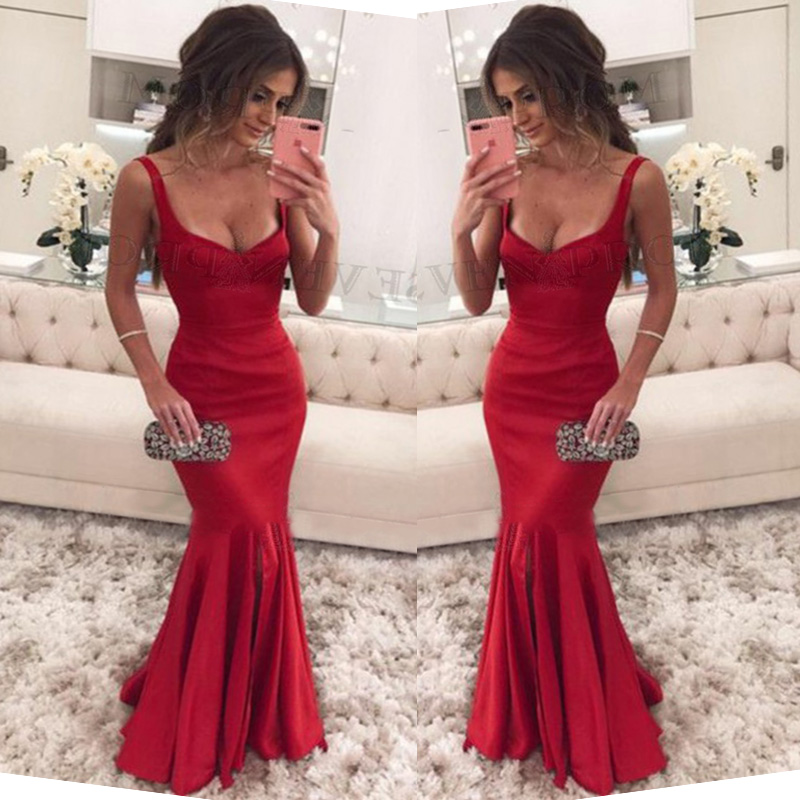 Trust LinDa Glamorous Spaghetti Straps Mermaid   Bridesmaid     Dresses   Sexy Side Split Party Wear   Dress   Custom Made Prom Gowns 2018