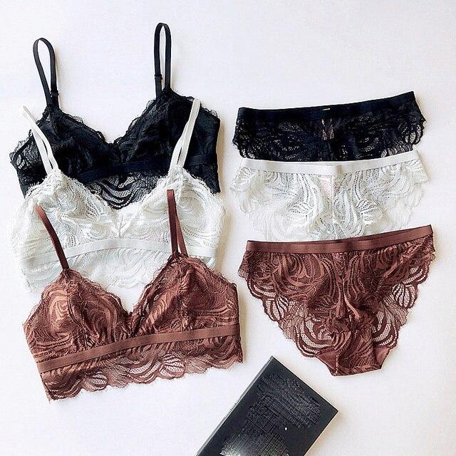레이스 bralette 와이어 무료 섹시한 숙녀 란제리 투명 ultrathin 얇은 컵 브래지어와 팬티 세트 편안한 원활한 속옷