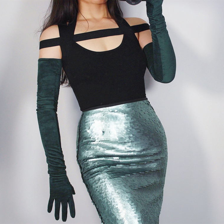 Women's Faux Suede Leather Dark Green Long Gloves Female Sexy Club Party Dress Fashion Long Glove 70cm R1304