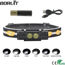 BORUiT D25 Dual XM L2 LEDไฟหน้าMini 6 โหมด5000LMที่มีประสิทธิภาพไฟหน้าแบบชาร์จไฟได้18650ไฟฉายสำหรับตั้งแคมป์ล่าสัตว์