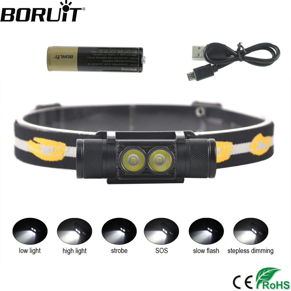 BORUiT D25 Dual XM-L2 LED Mini Headlamp High Power 6-Mode 5000LM Headlight Rechargeable 18650 Head Torch for Camping Hunting