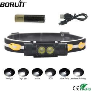 Image 1 - BORUiT D25 podwójny XM L2 LED Mini reflektor 6 Mode 5000lm potężny reflektor akumulator 18650 Head latarka kempingowa polowanie