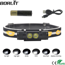 BORUiT Mini linterna de cabeza LED D25 de doble XM L2, 6 modos, 5000LM, potente, recargable, 18650, para acampar y cazar