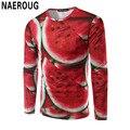 Hombres Rojo Sandía Fruta Inconformista Impresión 3D T-shirt de Manga Larga Camisa Fresca Top Guapo Primavera Impresión Digital Camiseta