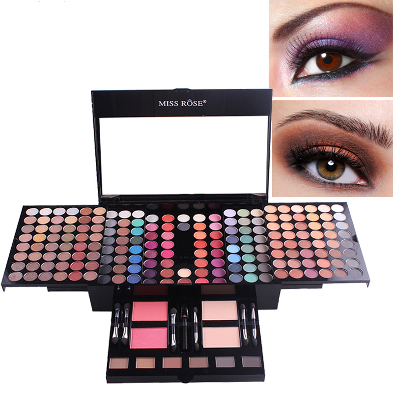 180 colors blush make up box eyeshadow palette makeup set with brush mirror Shrink professional Cosmetic case makeup kit shadow cosmetic 4 colours diamond eyeshadow palette with mirror and brush