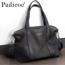 Padieoe High Quality Genuine Leather Men Handbag Durable Fashion Casual Totes Leather man Shoulder Bag Big