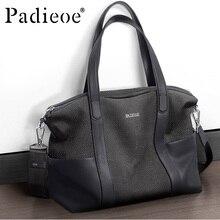 Padieoe High Quality Genuine Leather Men Handbag Durable Fashion Casual Totes Leather man Shoulder Bag Big Capacity Travel Bag