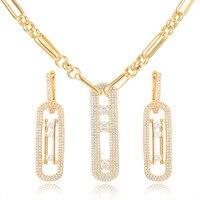 GODKI Luxury Geometry Necklace Earring Set Dubai Jewelry Sets For Women Wedding Engagement brincos para as mulheres 2019