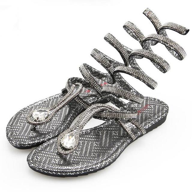 c0db17807088 Gladiator Sandals With Rhinestone Gold Silver Flip Flop Slipper For Women  2015 Mary Jane Jelly Sandals Artka Rasteirinha Size 35