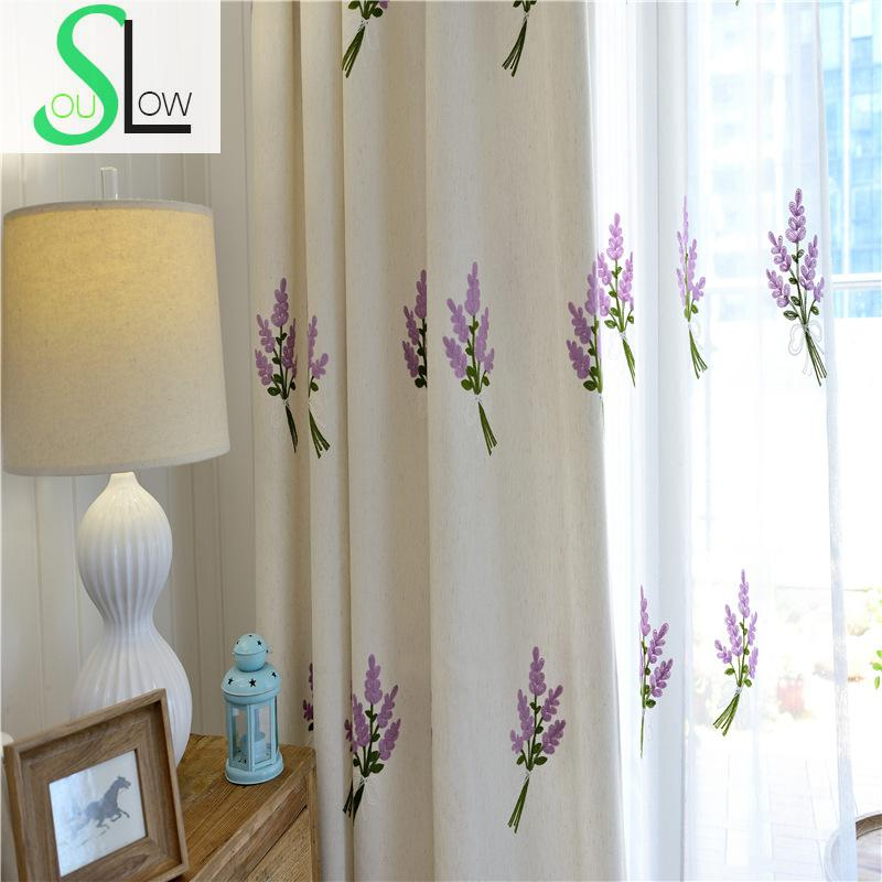 Slow Soul]Cotton Embroidered Curtains Light Blue White Leaves Window ...