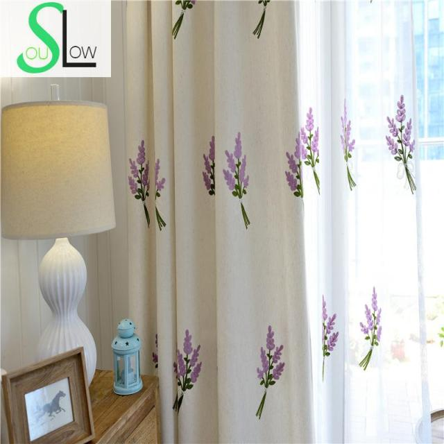 Slow Soul White Blue Yellow Jasmine Curtain Fabric Embroidered Floral Kitchen  Curtains For Living Room Tulle