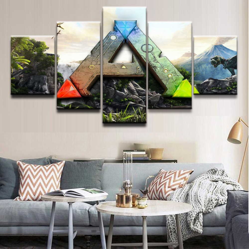 Canvas Wall Art Pictures Frames Living Room 5 Pieces Ark Survival Evolved Logo Paintings Home Decorative HD Printed Posters