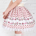 2016 nuevo Lleno de tortas impreso Orquídea Faldas de encaje Lindo plus tamaño falda lolita Princesa Kawaii estilo de Inglaterra Kawaii Lace hem SK