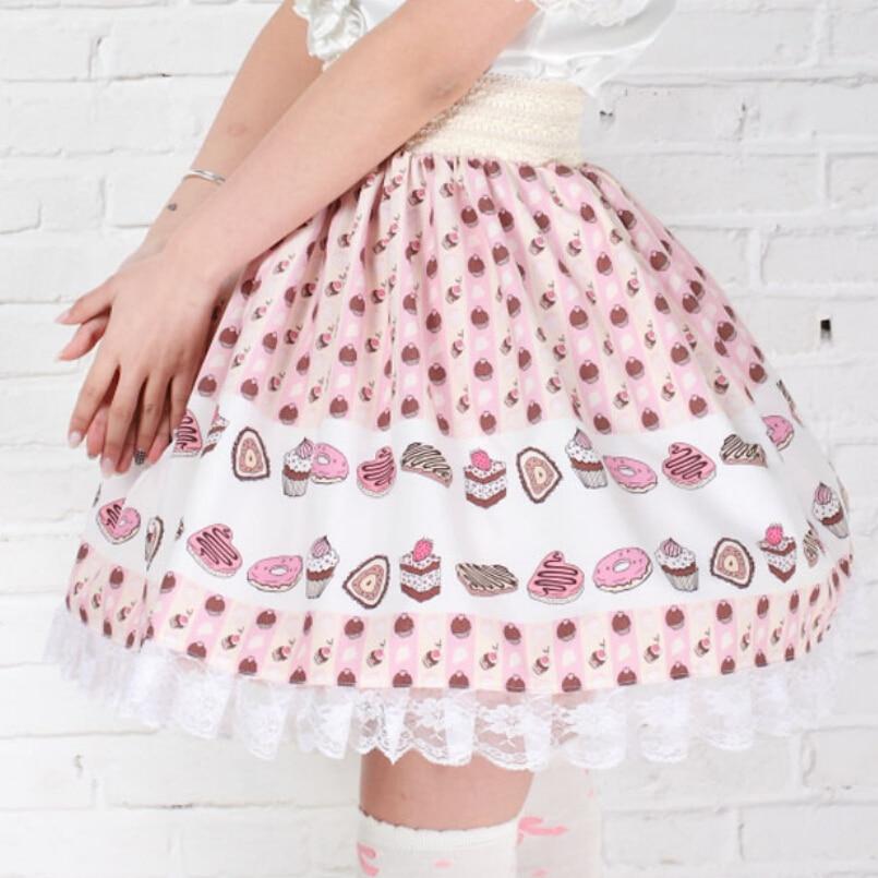 ab73fa31a425e Adomoe new Full of cakes printed Orchid Skirts Cute lace plus size lolita  skirt Princess Kawaii England style Kawaii Lace hem SK