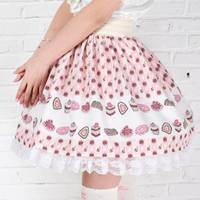 Adomoe new Full of cakes printed Orchid Skirts Cute lace plus size lolita skirt Princess Kawaii England style Kawaii Lace hem SK